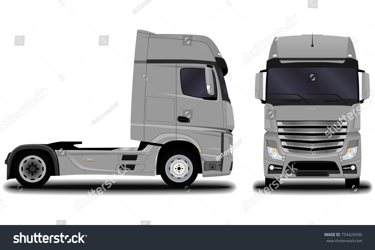 Realistic Truck Front View Side View Stock Vector ...