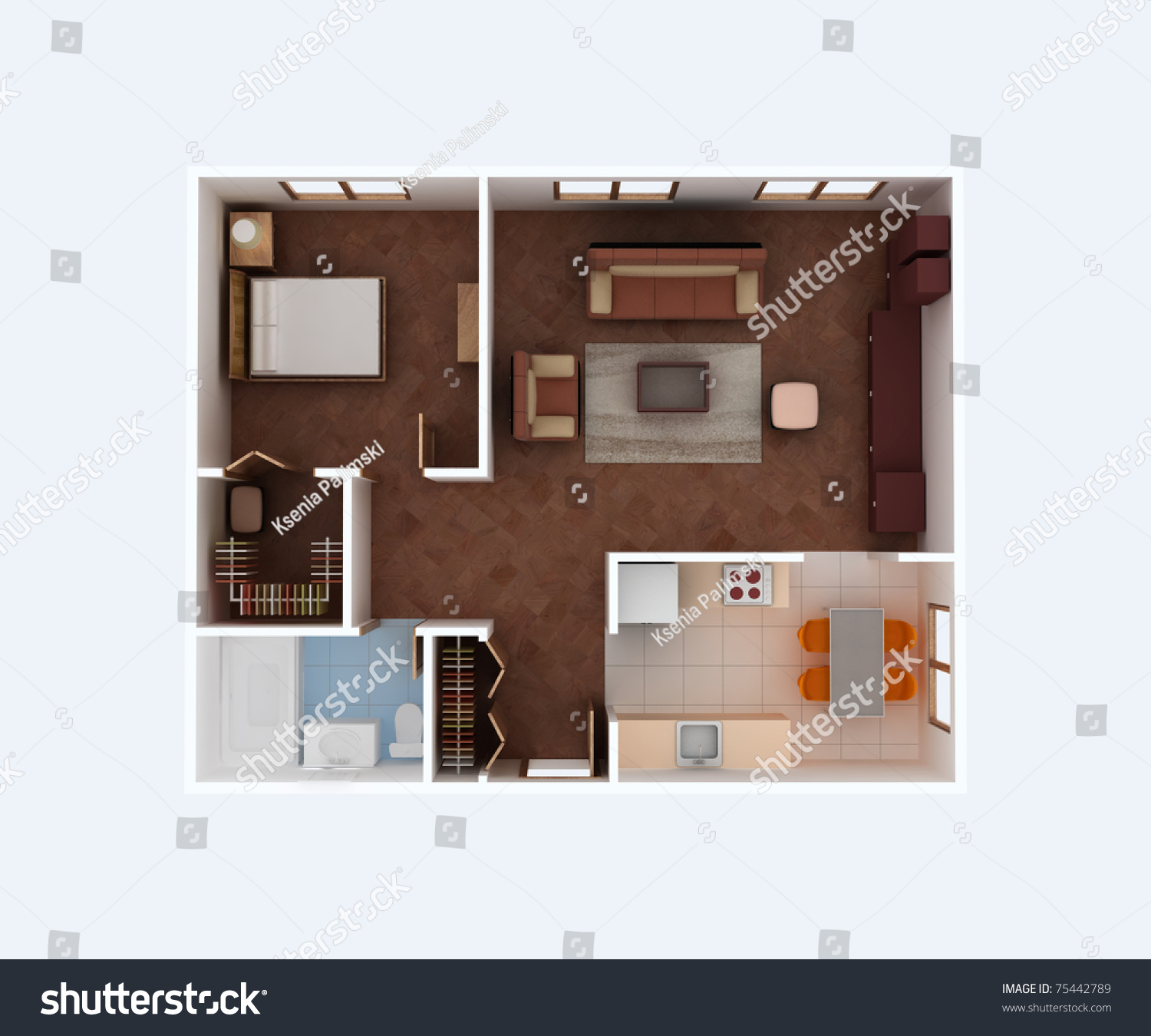 Plan view of a house clear 3d interior design kitchen for Dining room 3d view