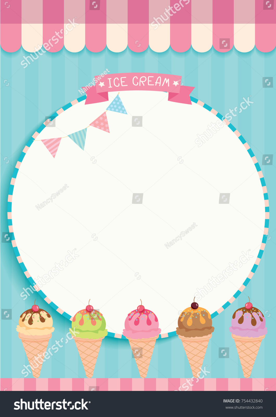 Illustration Vector Various Ice Cream Cone Stock Vector 754432840
