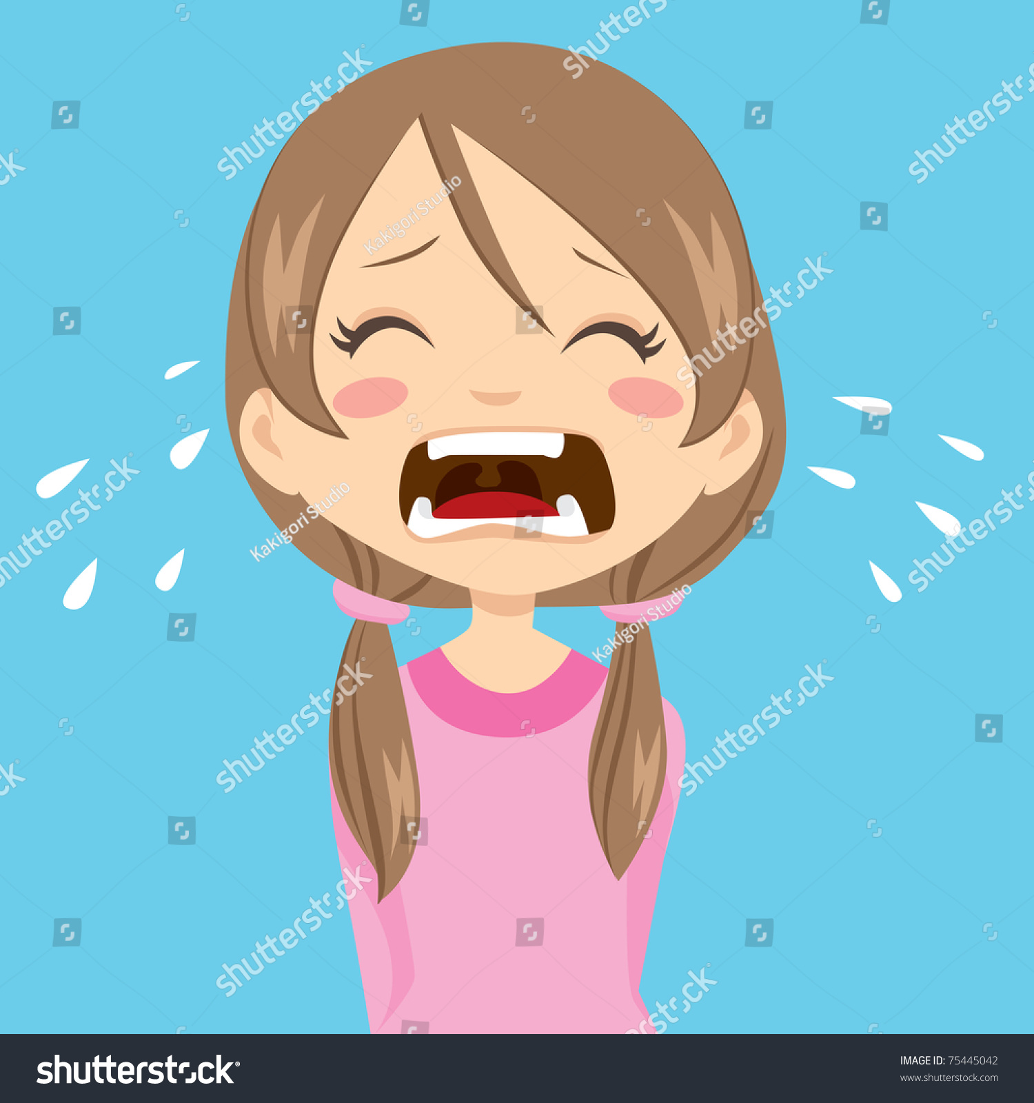 Lonely Sad Little Girl Crying Ponytails Stock Vector ...