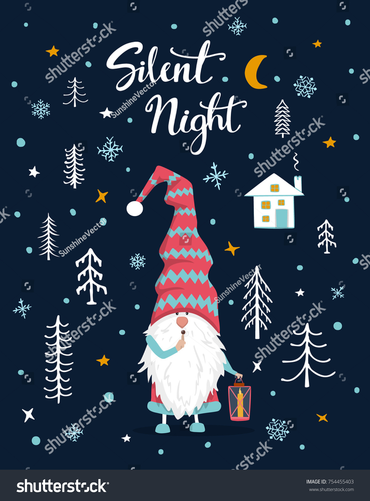 Silent Night Handwritten Hand Drawn Xmas Stock Vector (Royalty Free ...