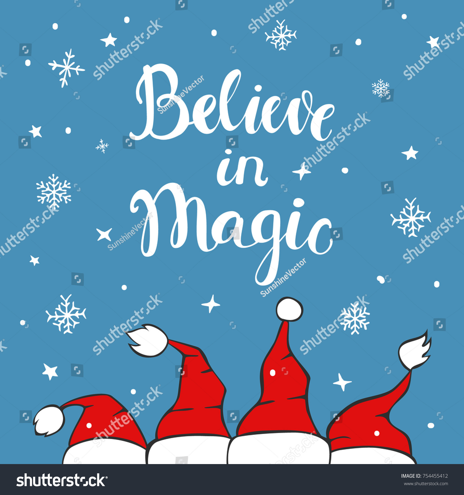 Believe magic xmas background greeting card stock vector 754455412 believe in magic xmas background greeting card with chrostmas santa claus hats on blue texture with m4hsunfo