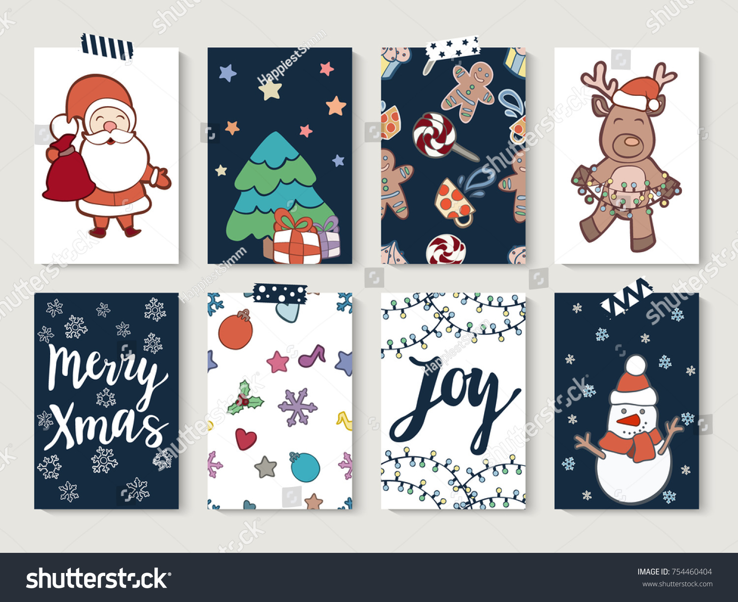 Christmas Cards Set With Doodle Hand Drawn Illustrations Set Of