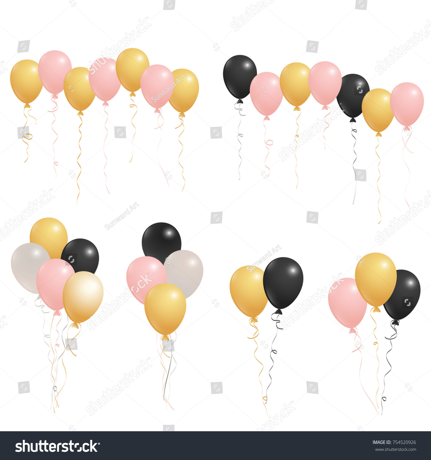 Rose Gold Pink Silver And Black Flying Balloons Isolated Vector Illustration Birthday Party Decoration