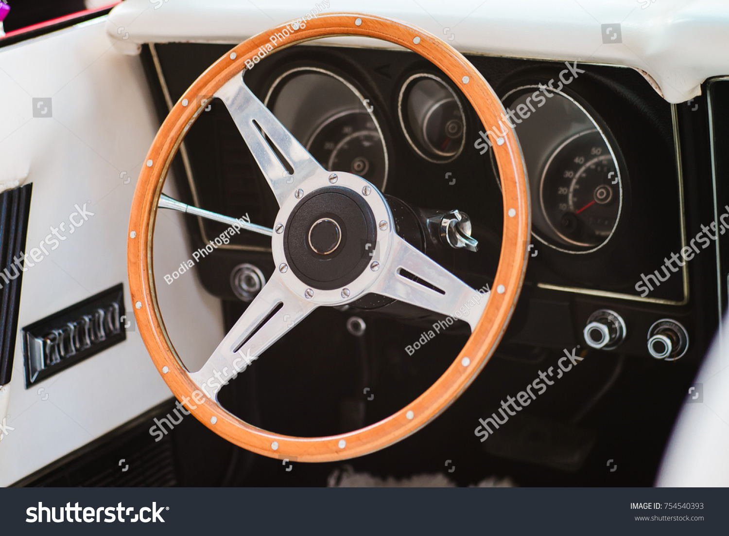 Closeup Steering Wheel Vintage Car White Stock Photo (Royalty Free ...