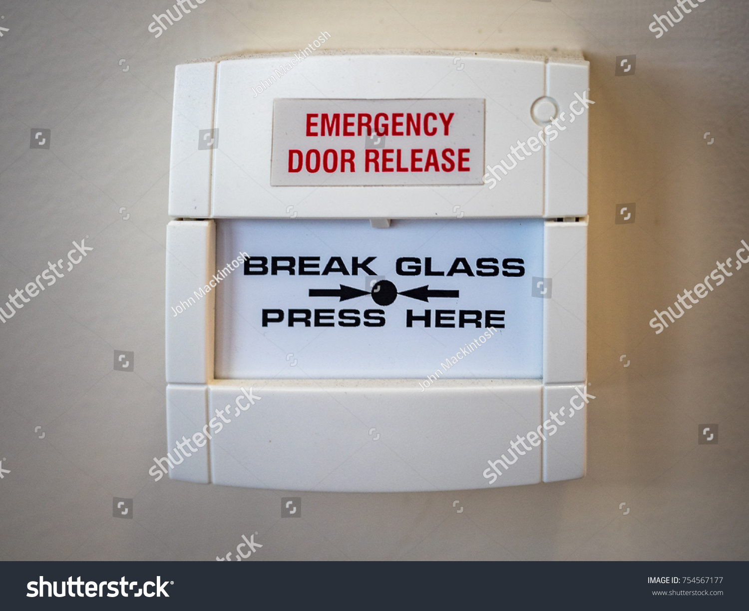 White Emergency Door Release Break Glass Stock Photo Edit Now