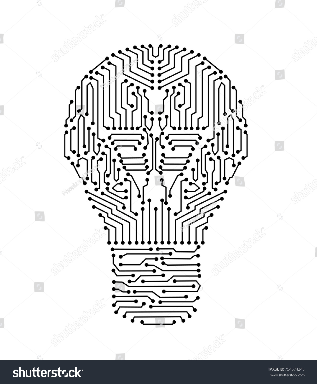 Circuit Board Lightbulb Shape Electronic Light Stock Vector (Royalty ...