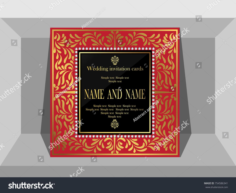 Wedding Invitation Template Gold Pattern Stock Vector 754586341 ...