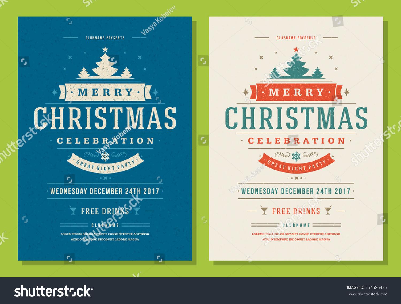 Christmas Party Invitation Retro Typography Decoration Stock Photo ...