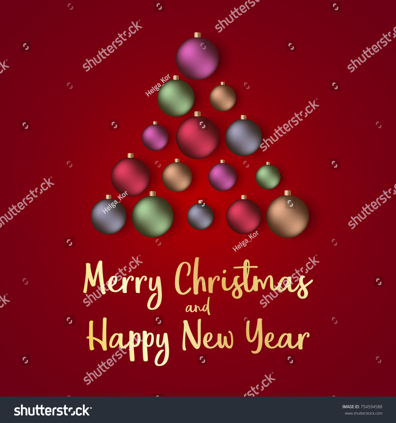 Merry christmas happy new year 2018 stock vector 754594588 merry christmas and happy new year 2018 greeting card vector illustration kristyandbryce Image collections