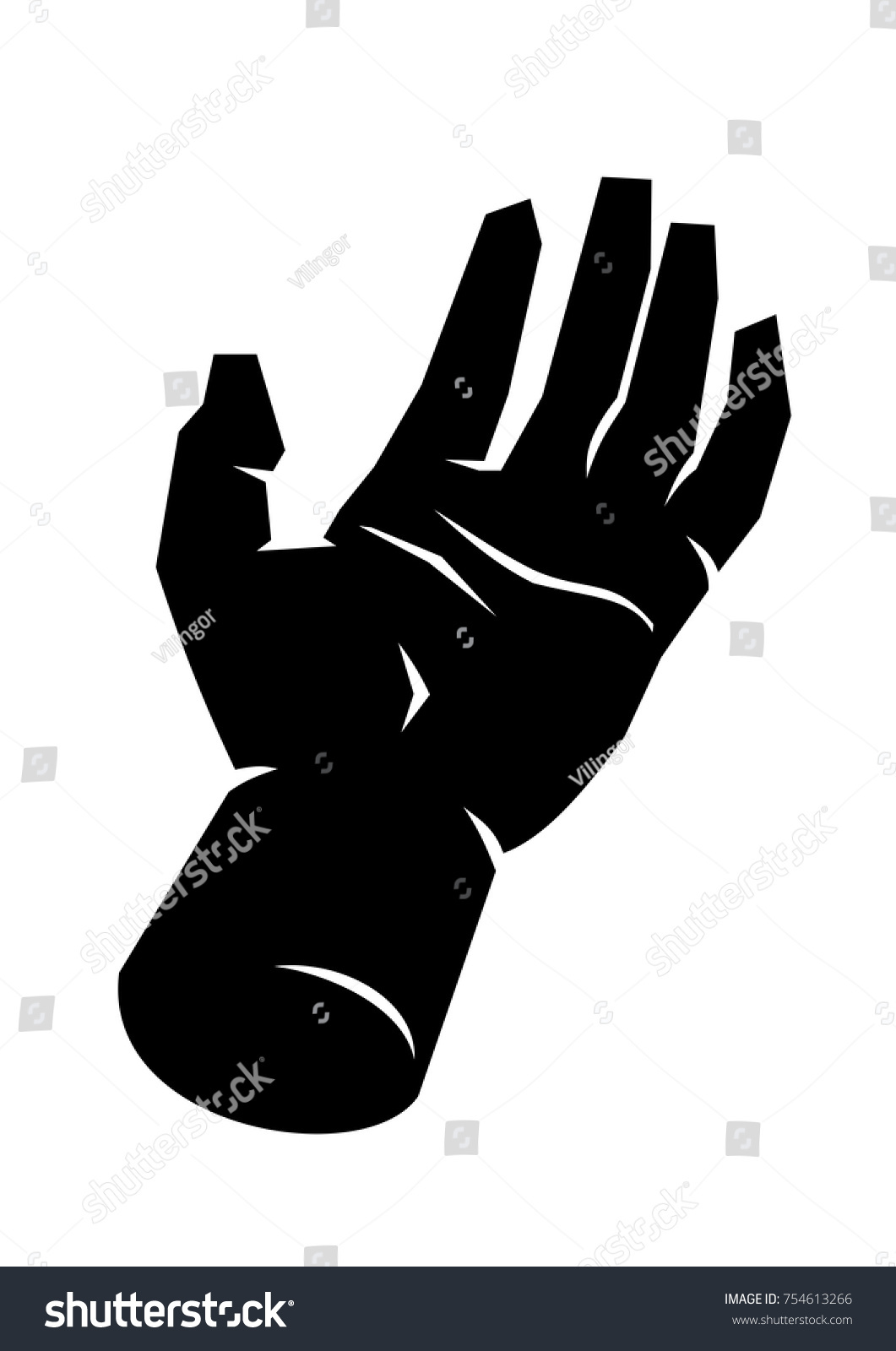 Black silhouette male open hand palm stock vector 754613266 black silhouette of a male open hand palm up fingers extended white hand lines buycottarizona