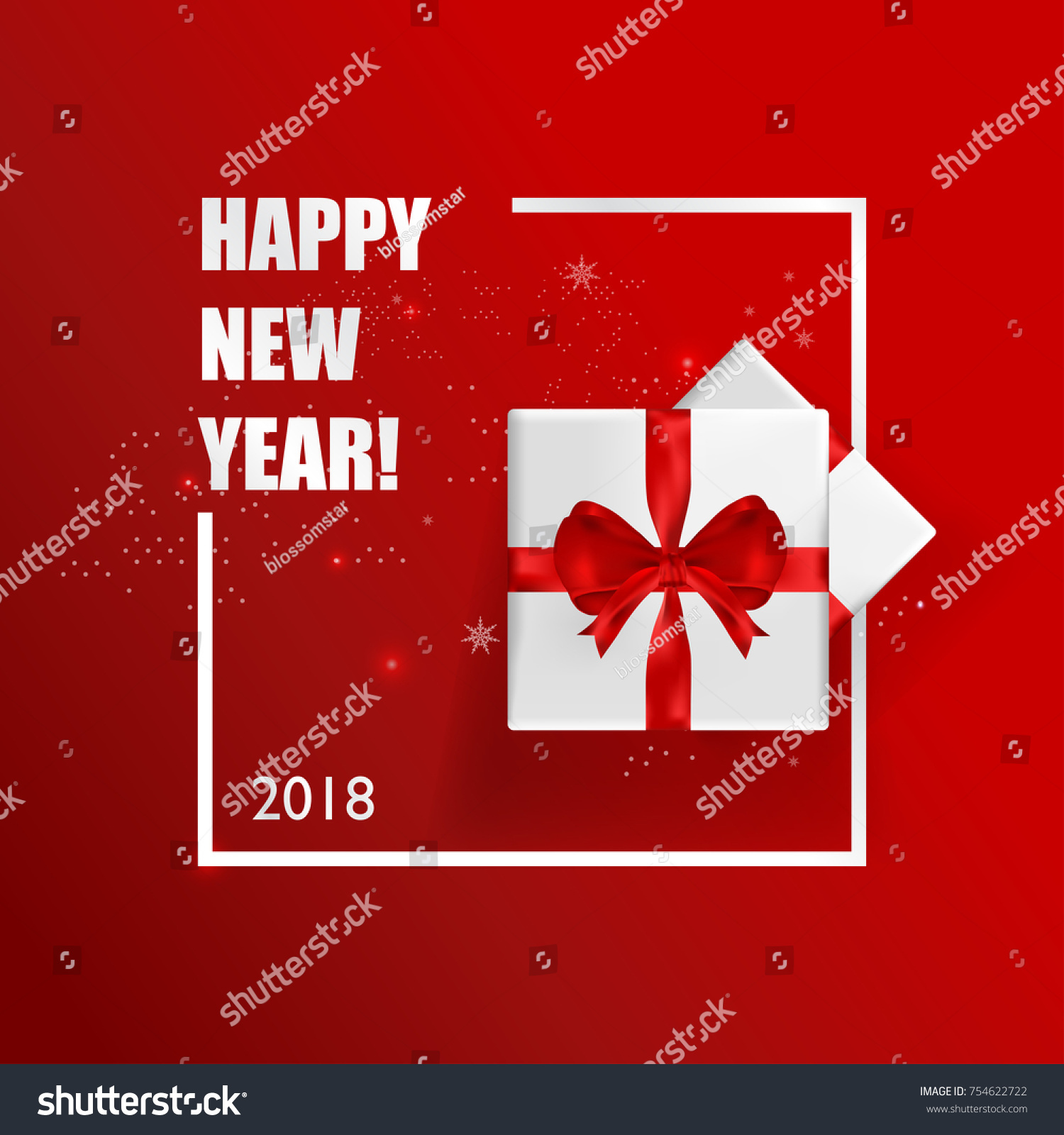 New years greeting card vector illustration stock vector 754622722 new years greeting card vector illustration happy new year 2018 on red background for greeting kristyandbryce Images