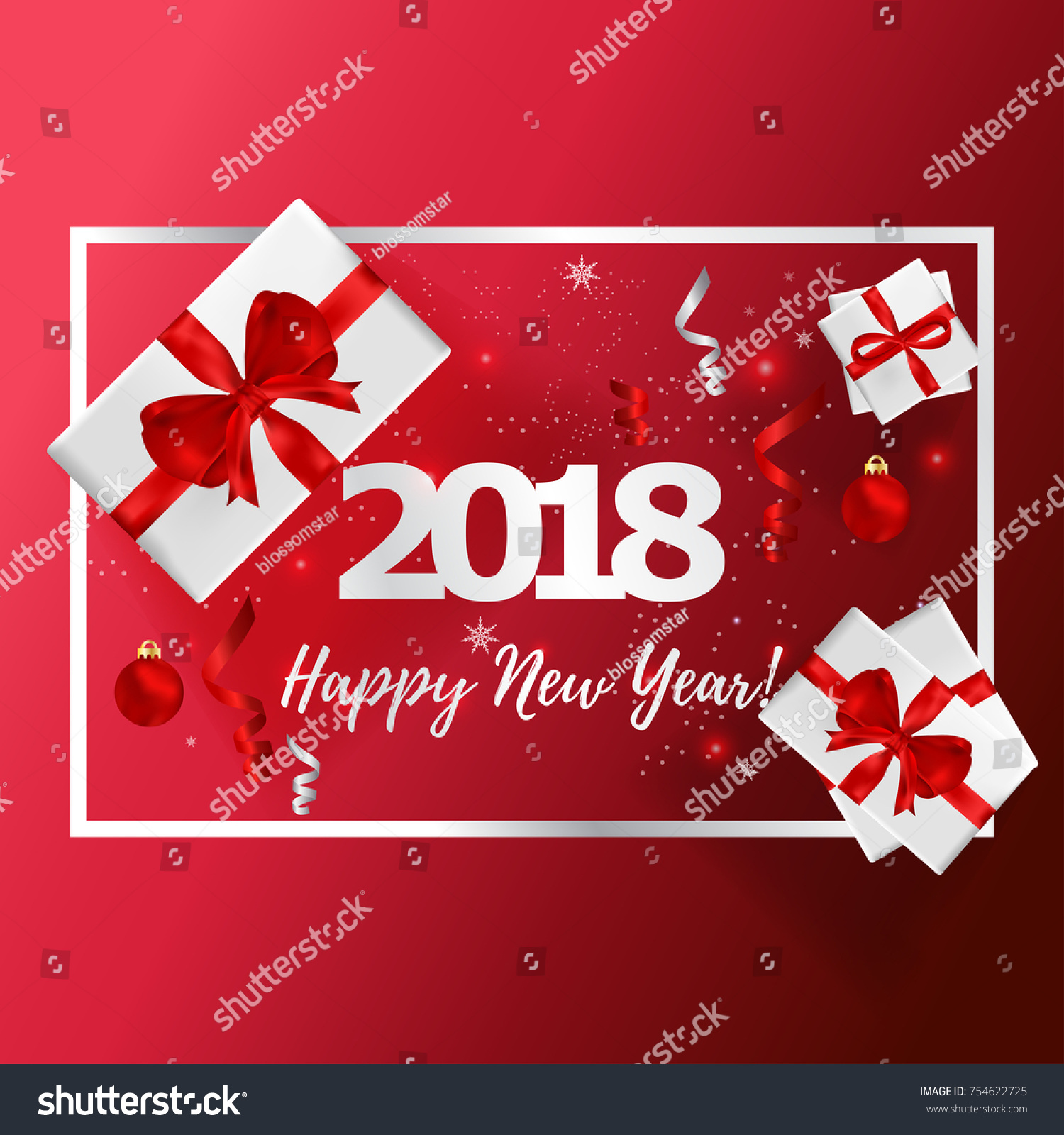 New years greeting card vector illustration stock vector 754622725 new years greeting card vector illustration happy new year 2018 on red background for greeting kristyandbryce Images