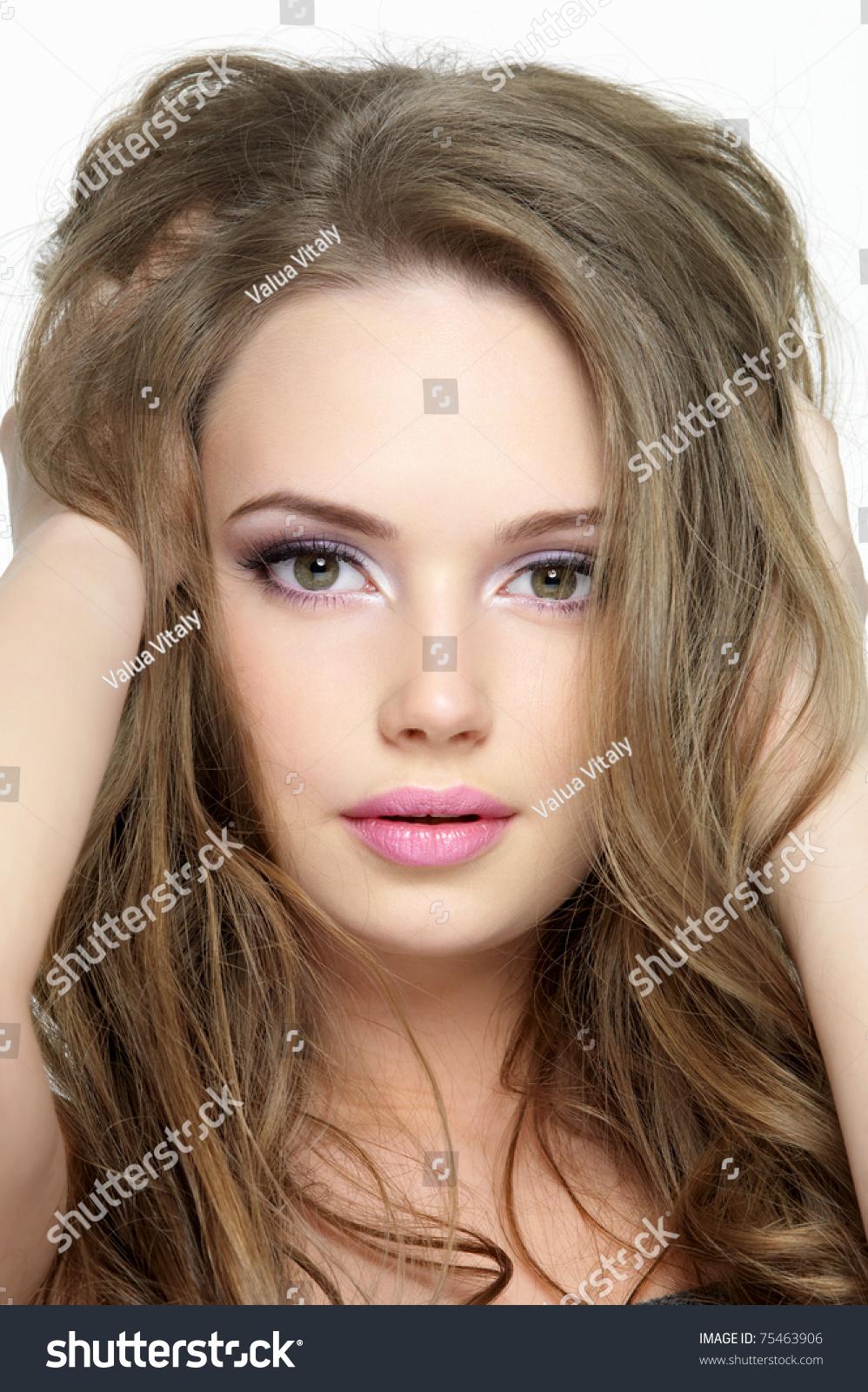 Closeup Portrait Of A: Closeup Portrait Of Beautiful Pretty Face Of Young Girl