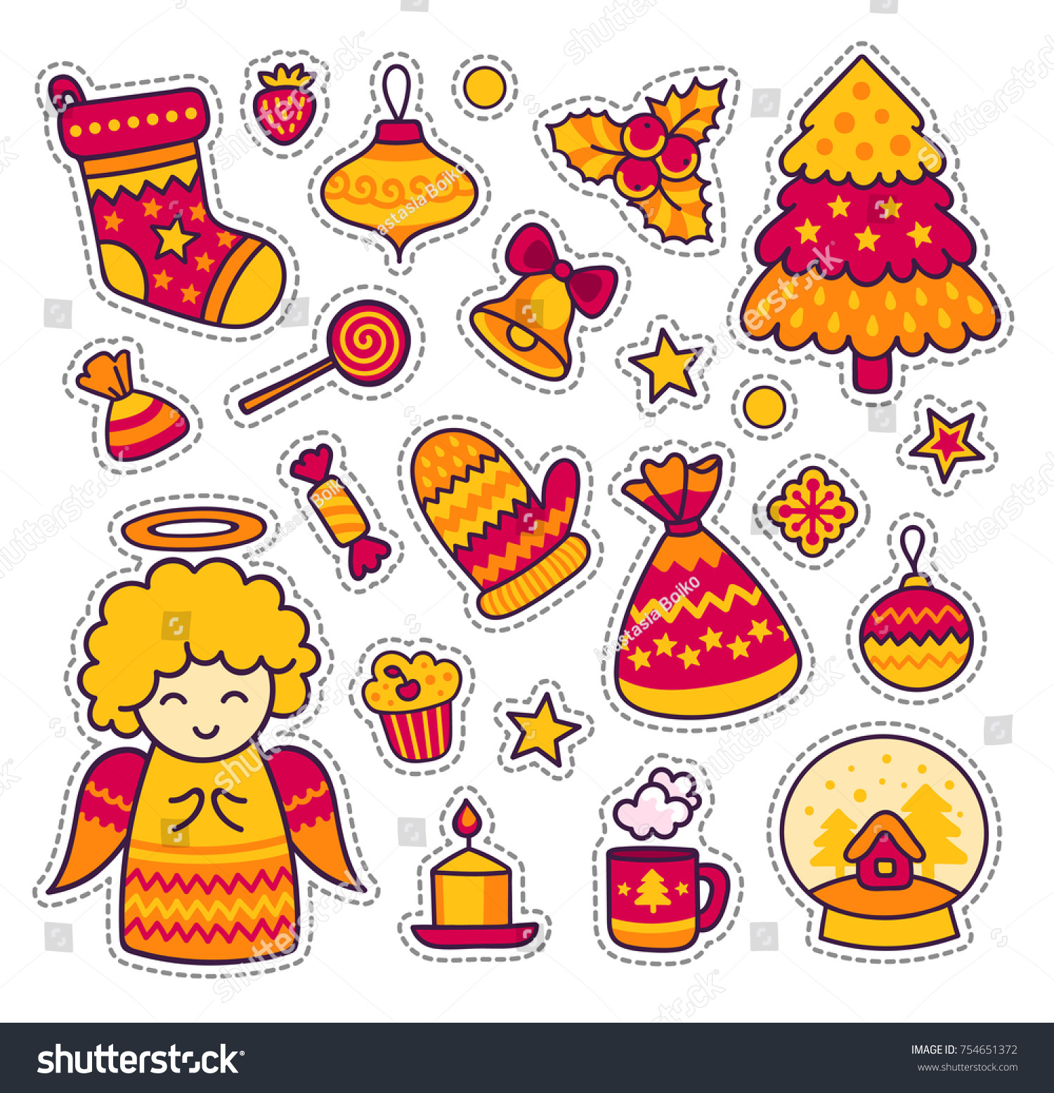 Set of stickers patches badges pins prints cute cartoon little angel