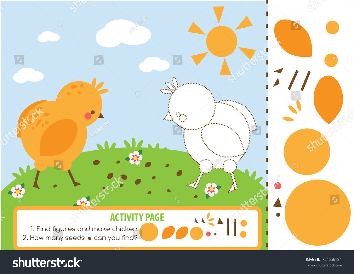 Activity Page Kids Chicken Educational Children Stock Vector ...