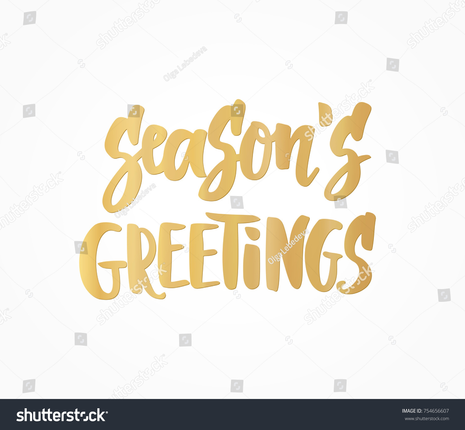 Seasons greetings text hand drawn lettering stock vector 754656607 seasons greetings text hand drawn lettering golden holiday quote on white background for kristyandbryce Images