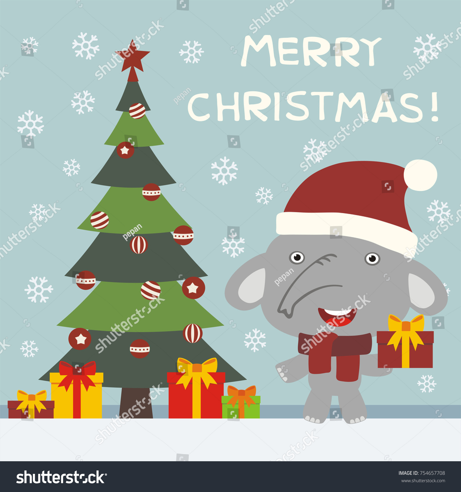 Merry Christmas Greeting Card With Funny Elephant With Gifts Ez