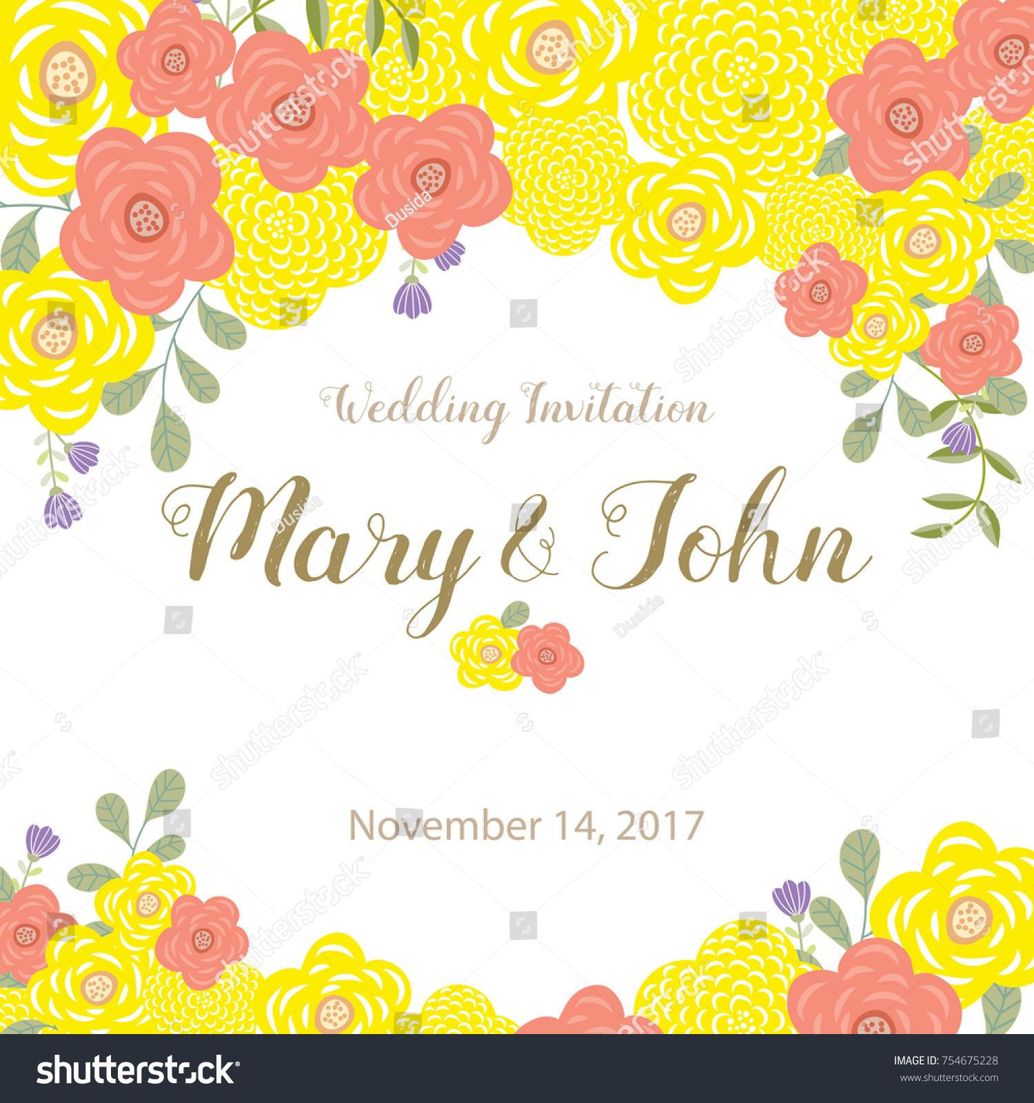 Wedding Invitation Card Yellow Pink Flower Stock Vector 754675228 ...