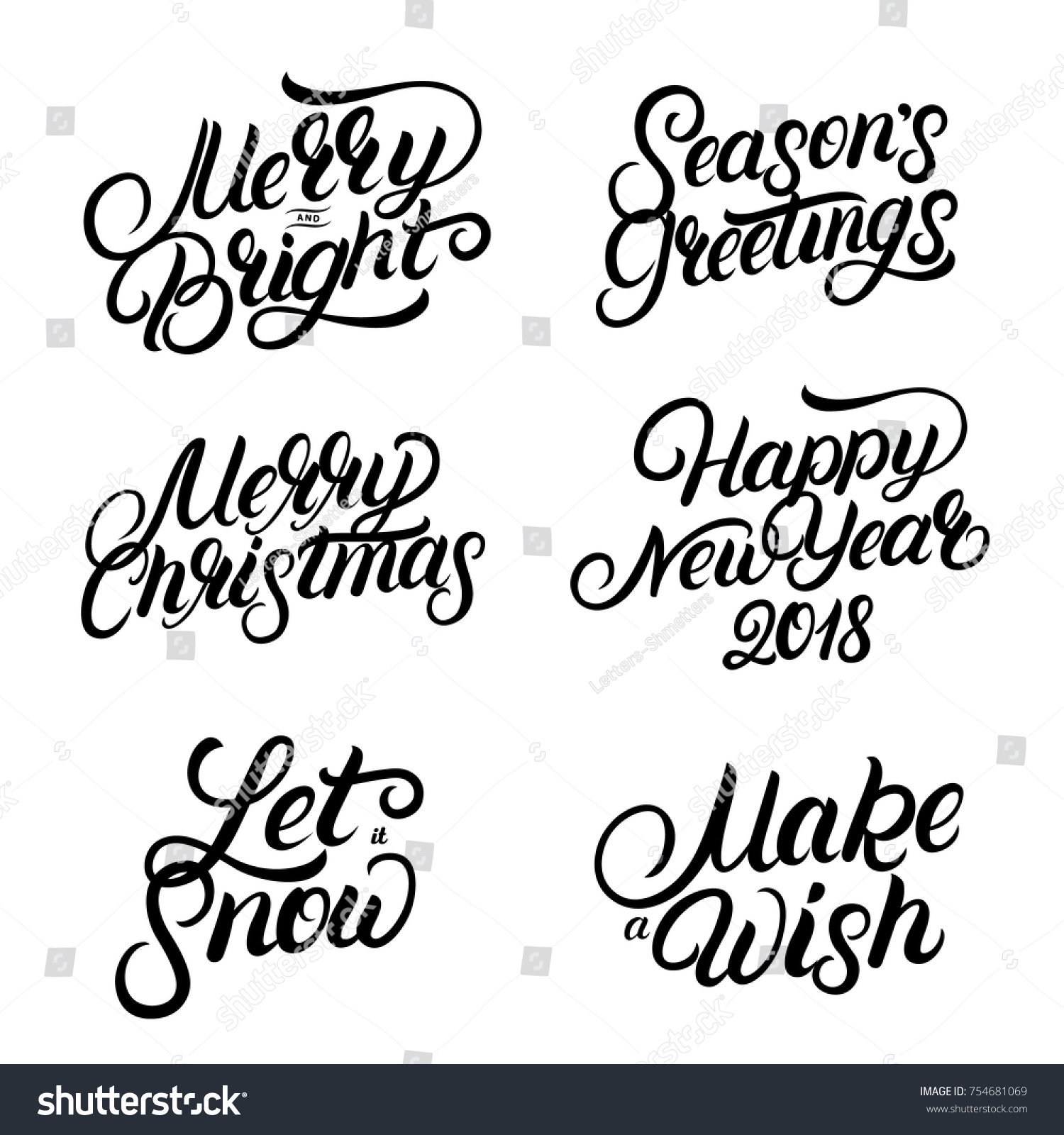 Set Christmas New Year 2018 Hand Stock Vector (Royalty Free ...
