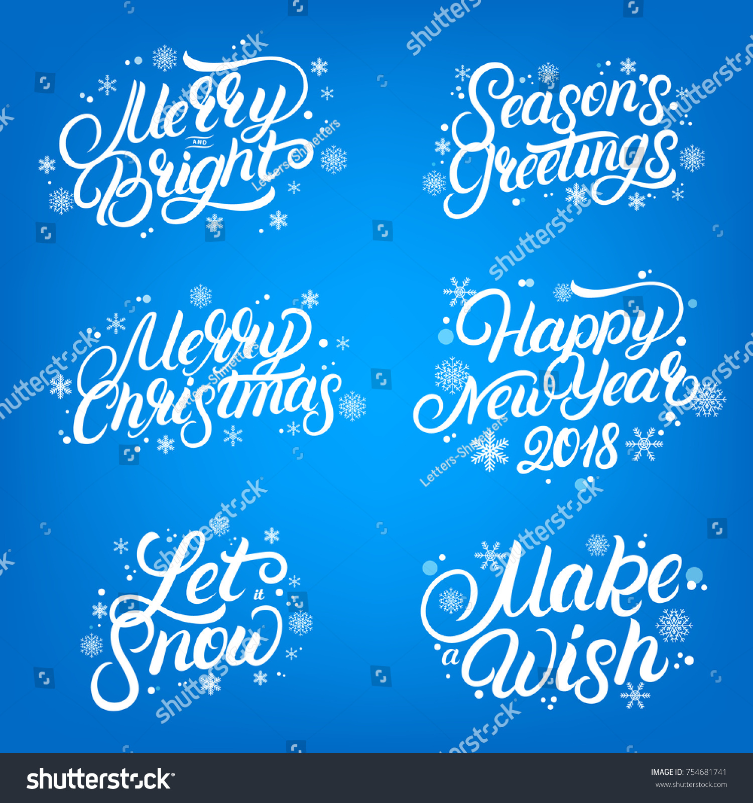 set of christmas and new year 2018 quotes hand written lettering with falling snow and