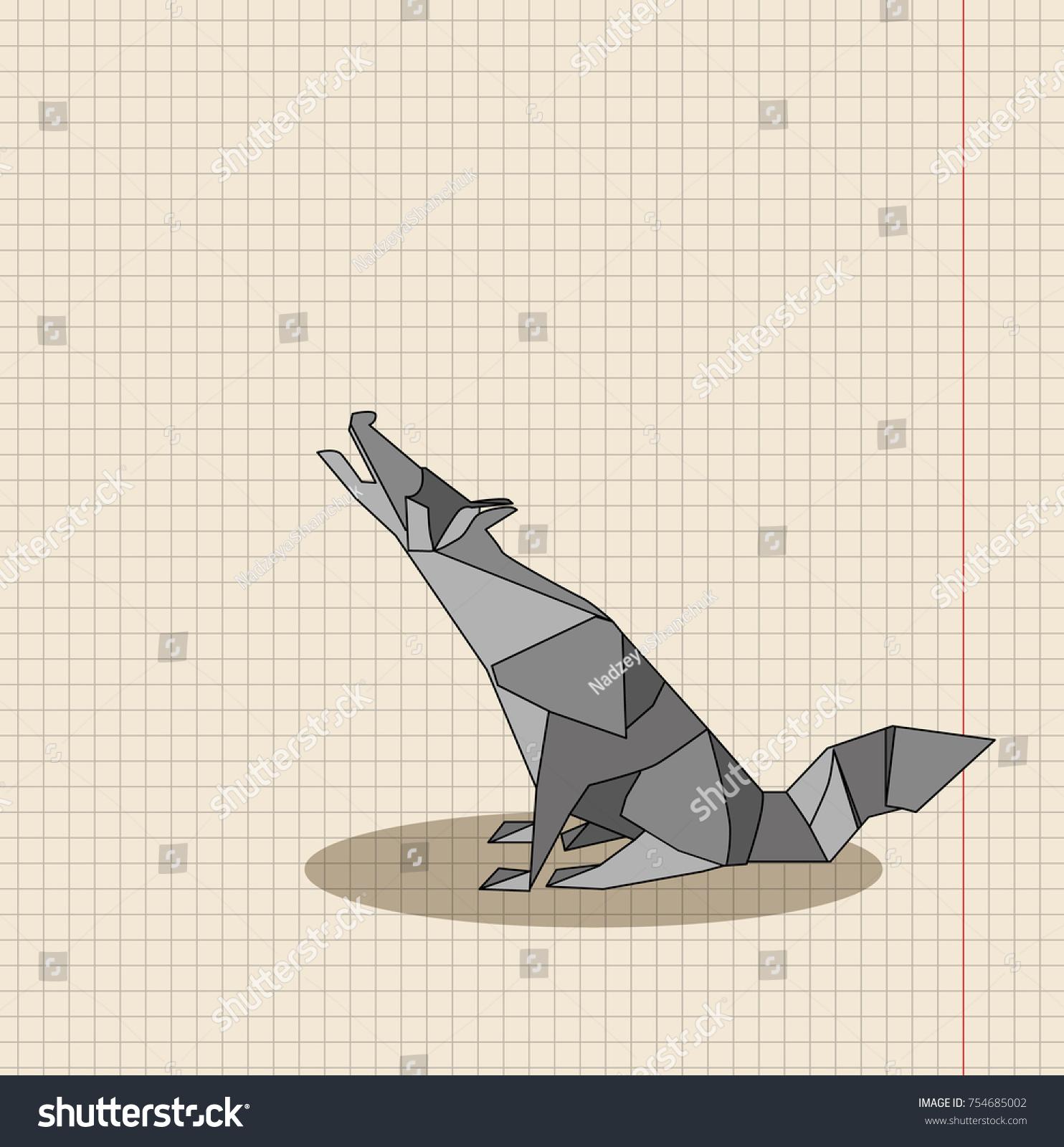 Origami Wolf Isolated Stock Illustration 754685002 Shutterstock