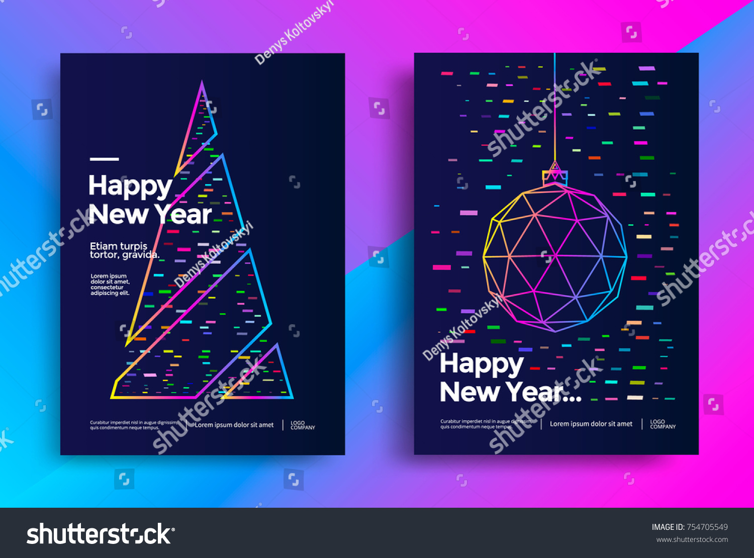 New Year greeting card design with stylized christmas ball and christmas tree. Vector illustration #754705549