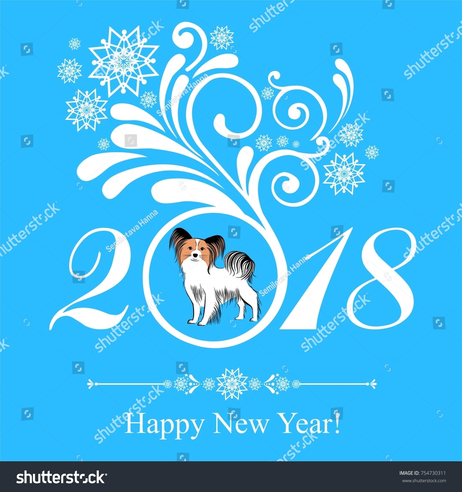 2018 Happy New Year Greeting Card Stock Illustration 754730311