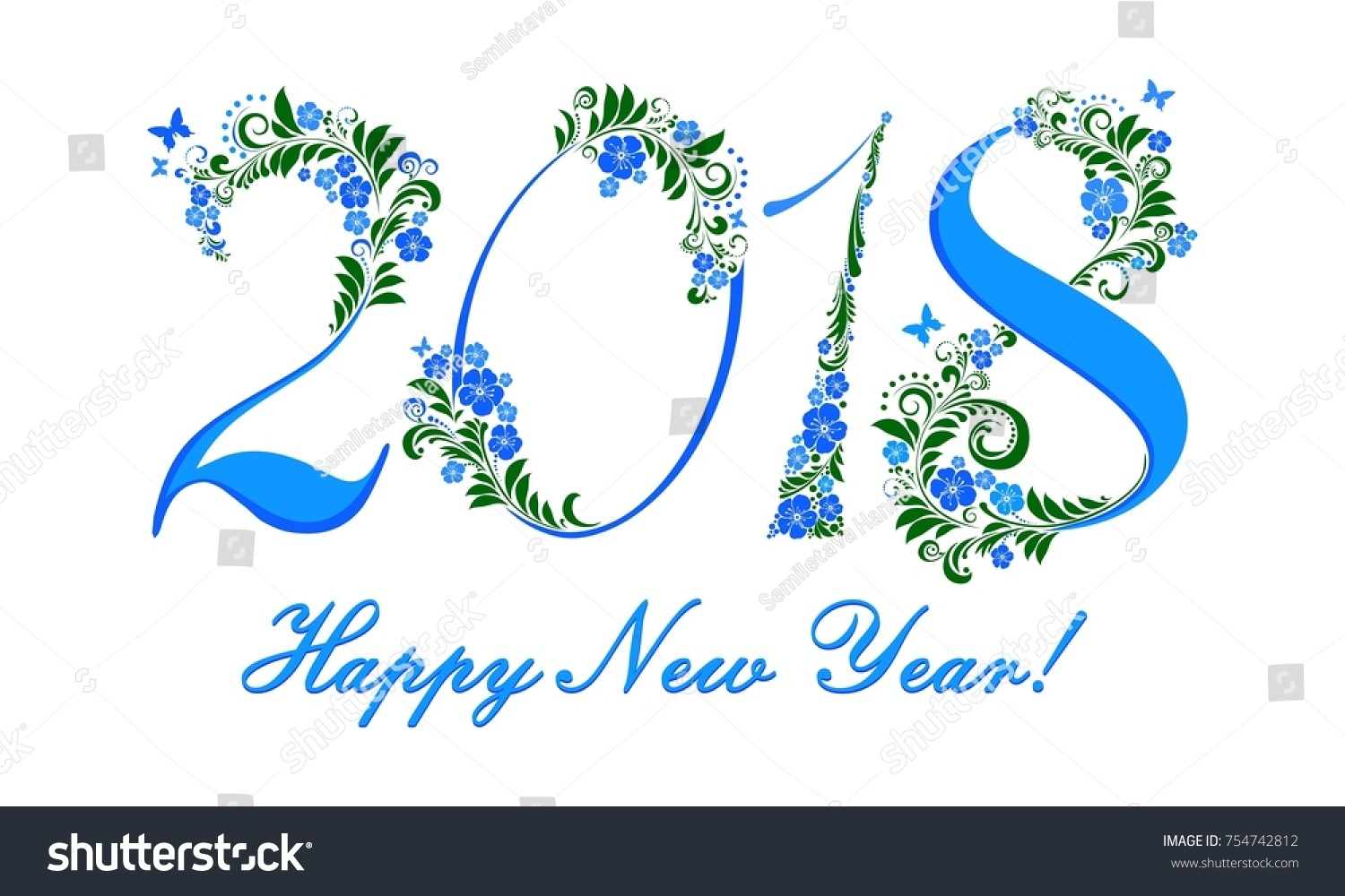 2018 happy new year greeting card celebration white background with blue flower and place for