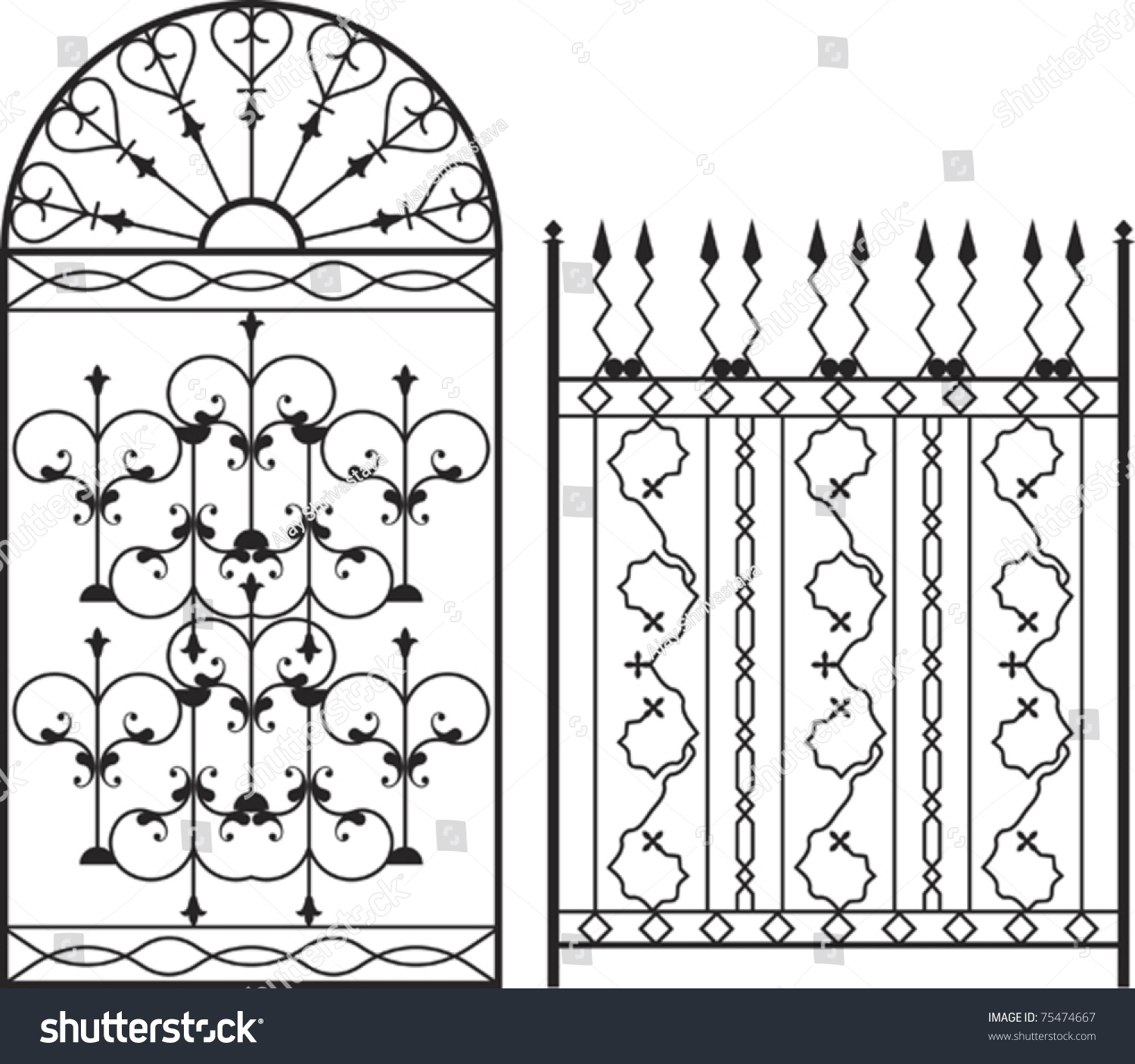 Wrought iron gate door fence window stock vector 75474667 for Window scroll function