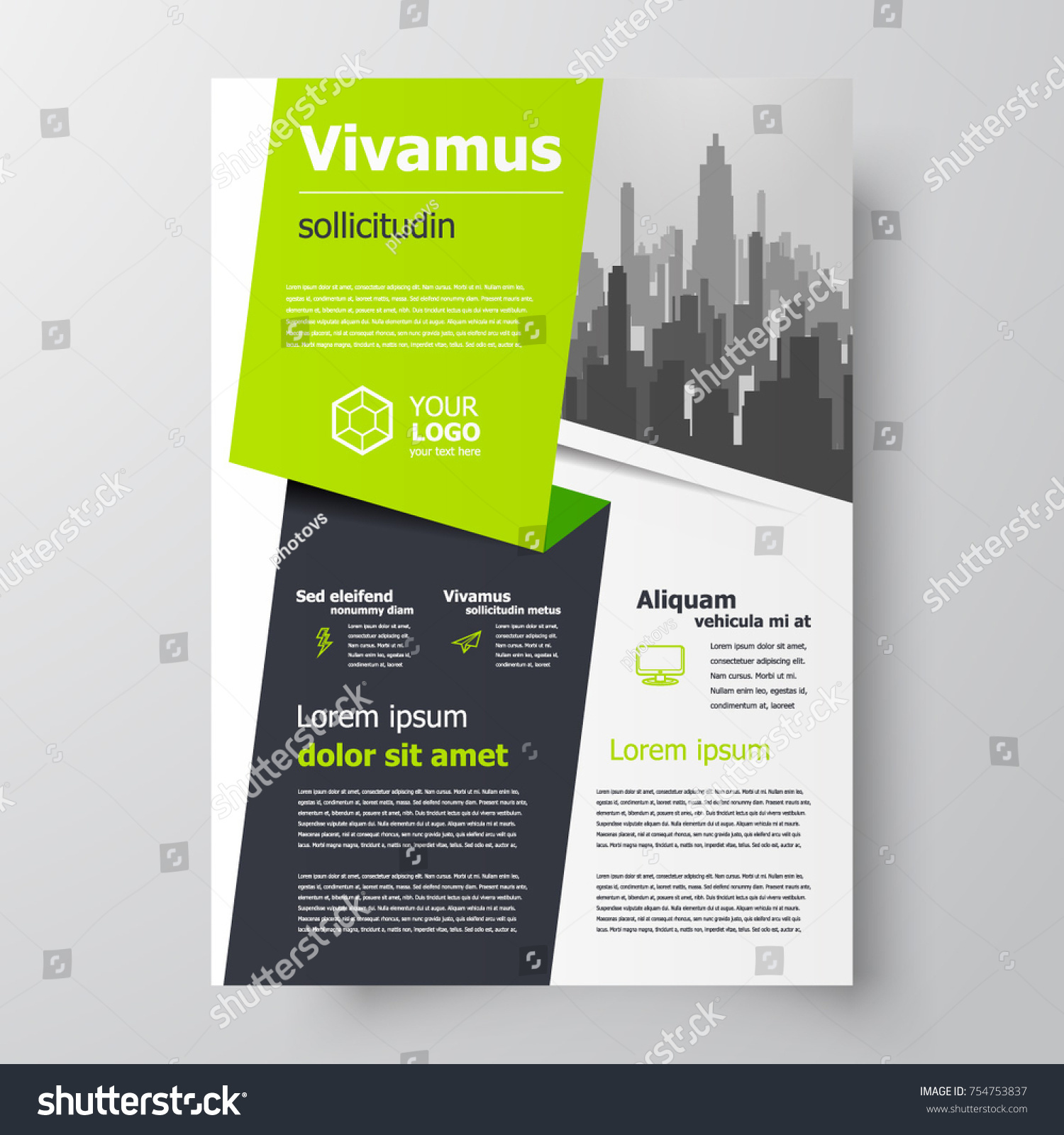 green brochure design template business flyer stock vector royalty