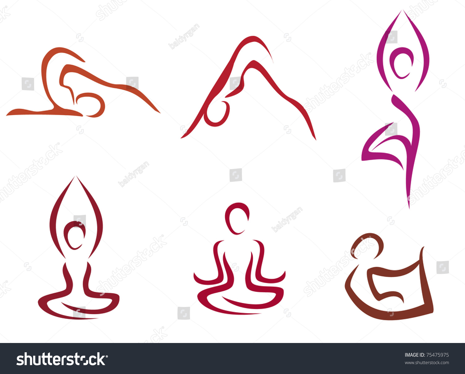 Line Drawing Yoga Pose : Yoga poses symbols set in simple lines stylized vector
