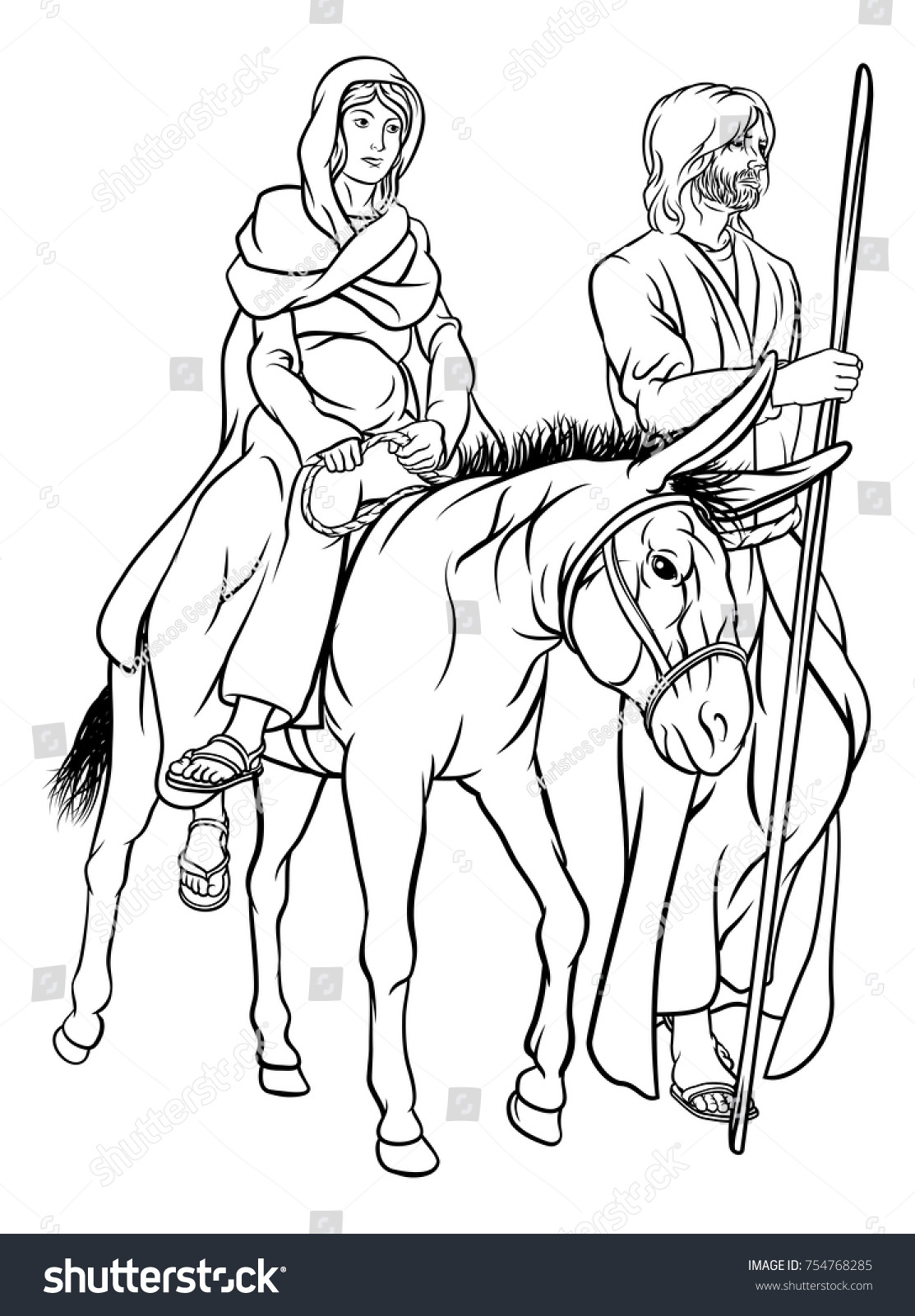 Religious Christian Nativity Christmas Illustration Joseph Stock ...