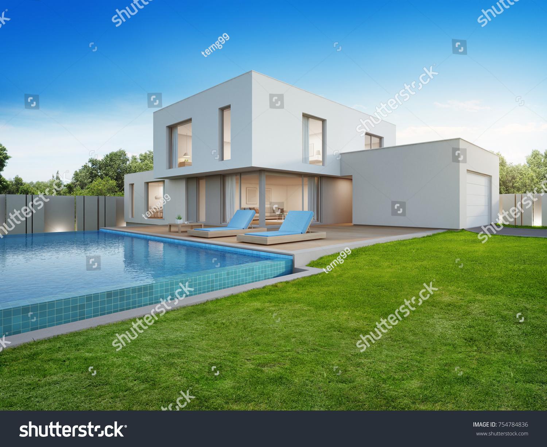 Luxury house swimming pool terrace near ภาพประกอบสต็อก 754784836