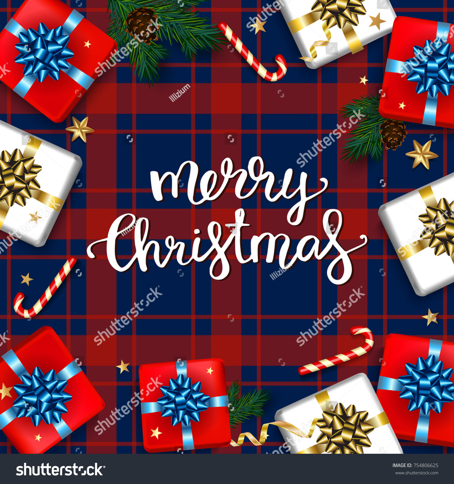 Christmas greeting card gifts boxes set stock vector 754806625 christmas greeting card with gifts boxes set with bow and fir branches and elements happy kristyandbryce Choice Image