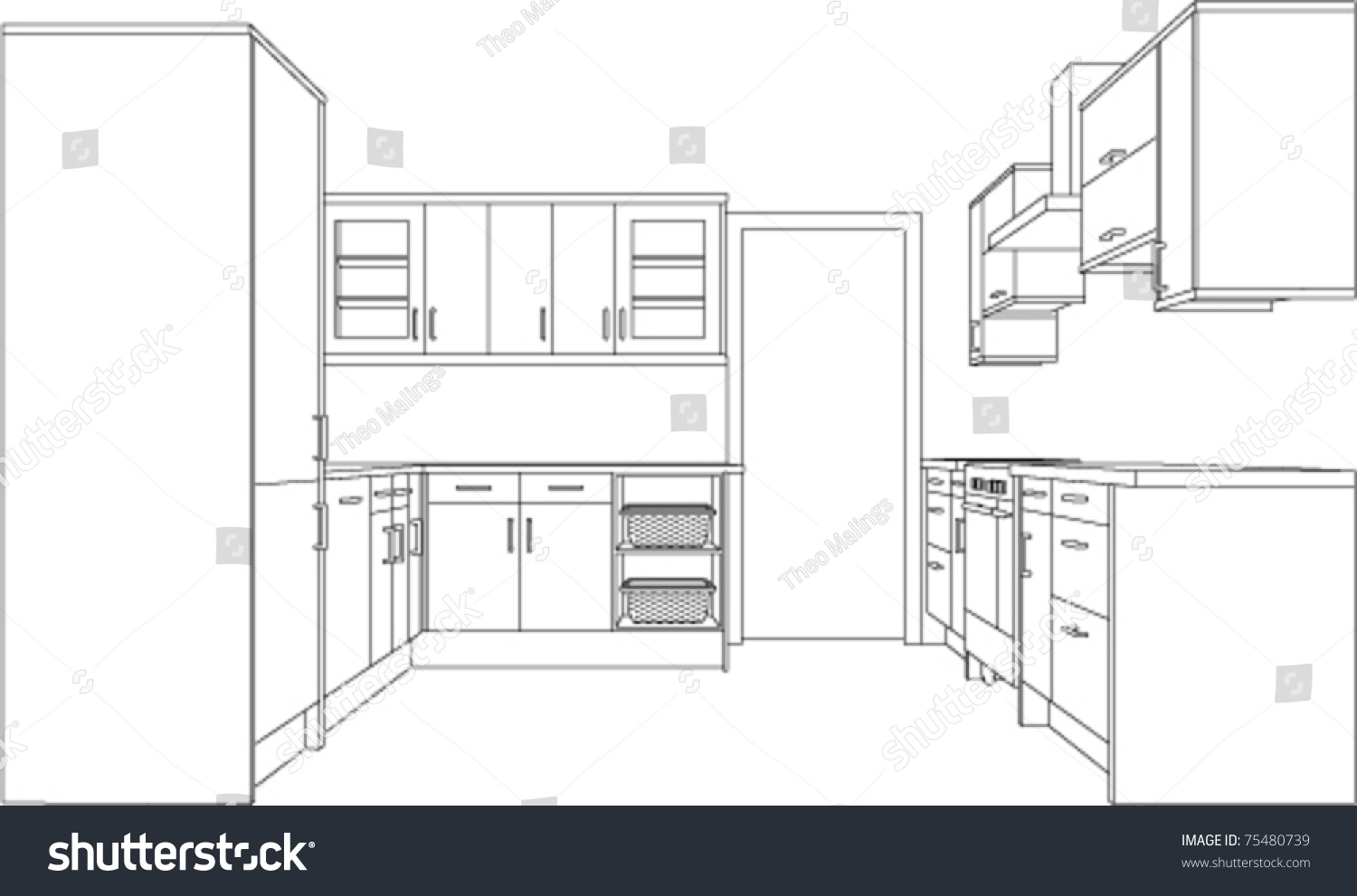 3d Single Point Perspective Line Drawing Stock Vector 75480739 Shutterstock