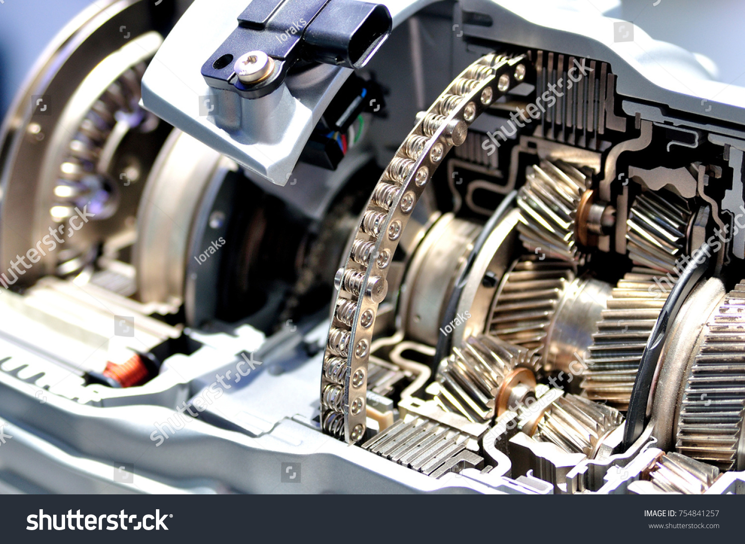 cross section hybrid car automatic transmission stock photo edit