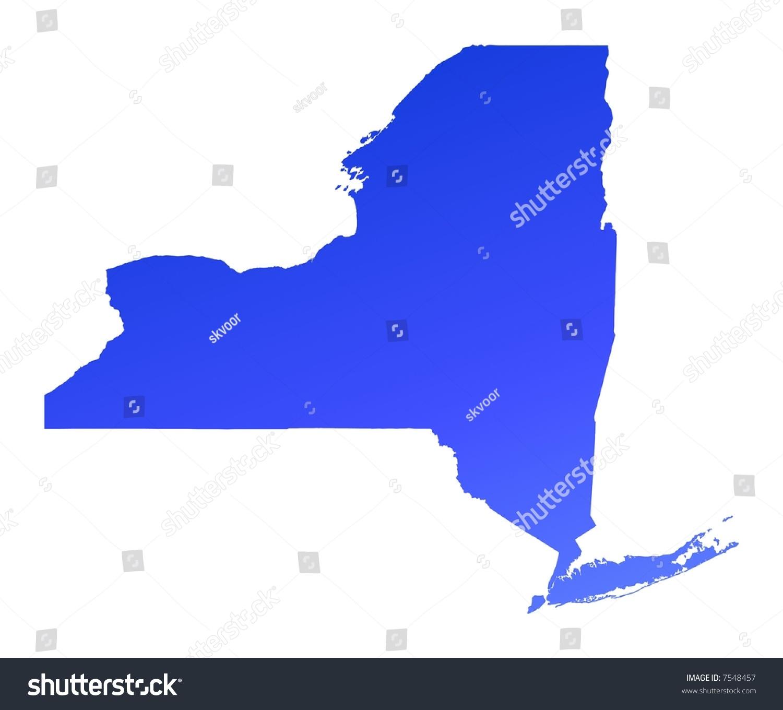 Blue Gradient New York Map Usa Stock Illustration - Nyc map usa