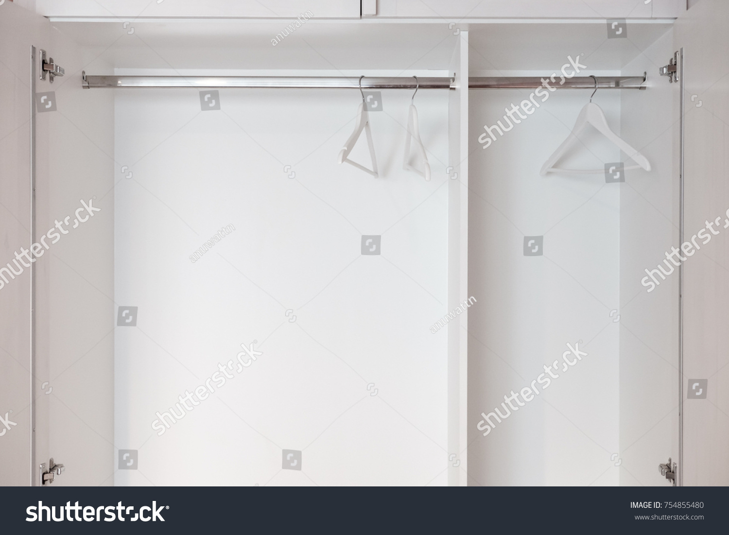 empty closet with hangers. Empty White Closet Wardrobe Hangers Rail Stock Photo (Royalty Free) 754855480 - Shutterstock With R