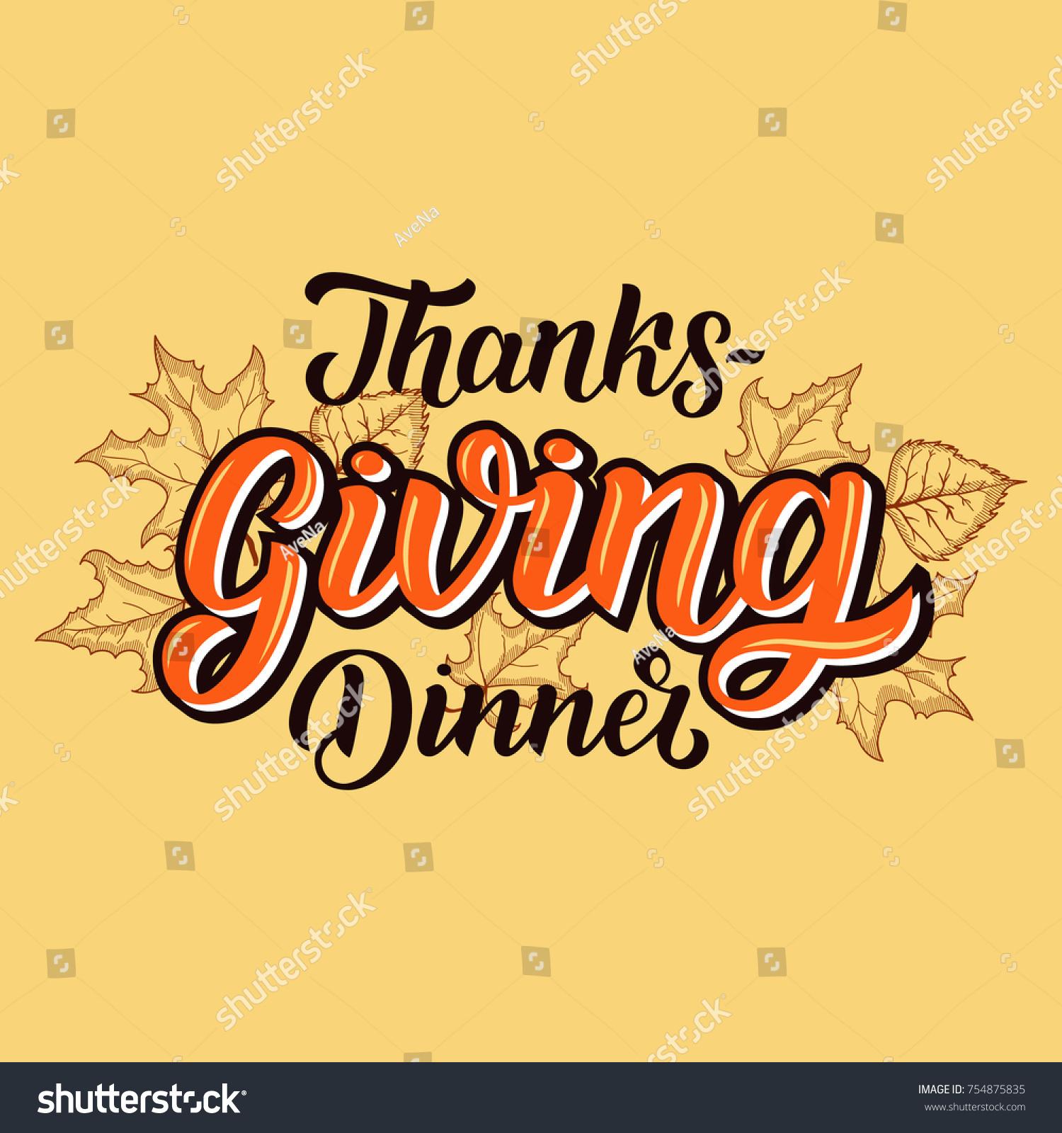 Happy Thanksgiving Dinner Brush Hand Lettering Stock Vector ...