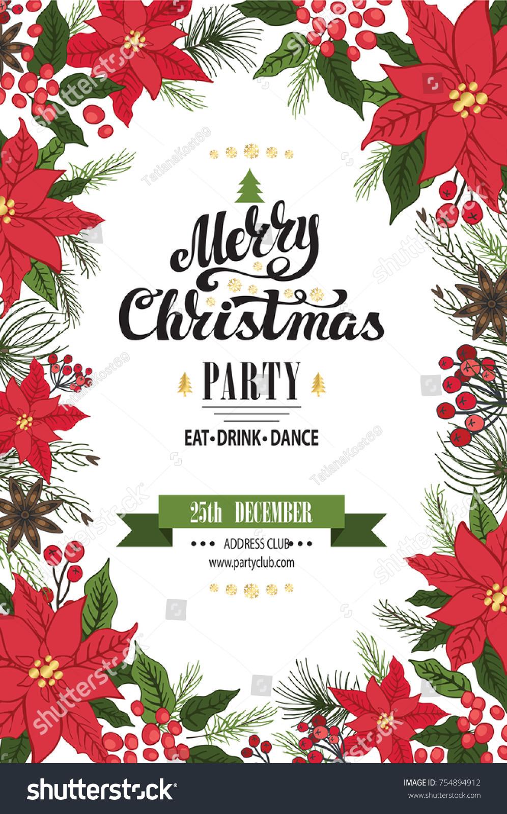 Christmas Party Invitationdesign Templateflyerticket Vector Merry ...