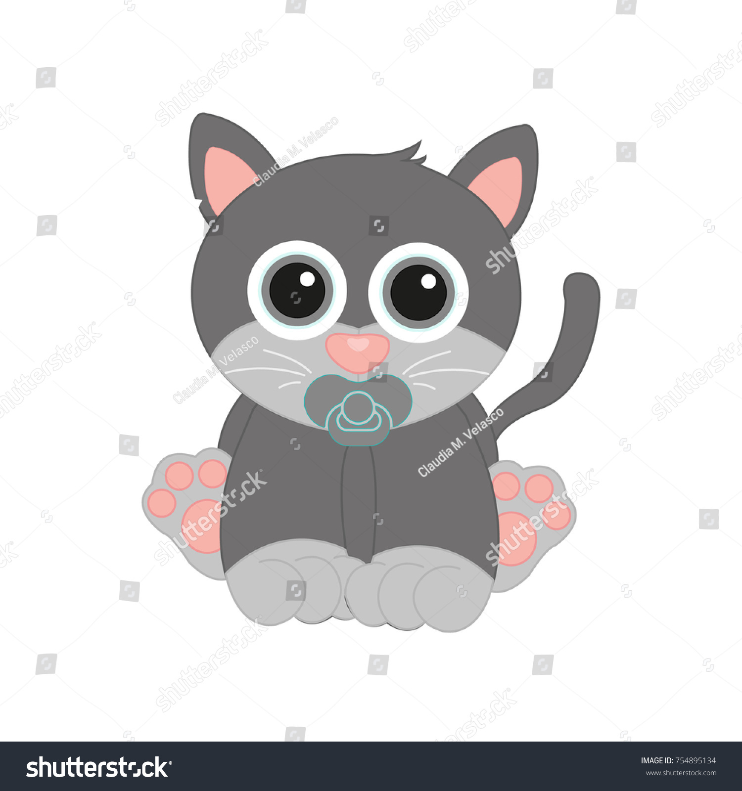 Adorable Baby Kitty Cat Color Soft Stock Vector