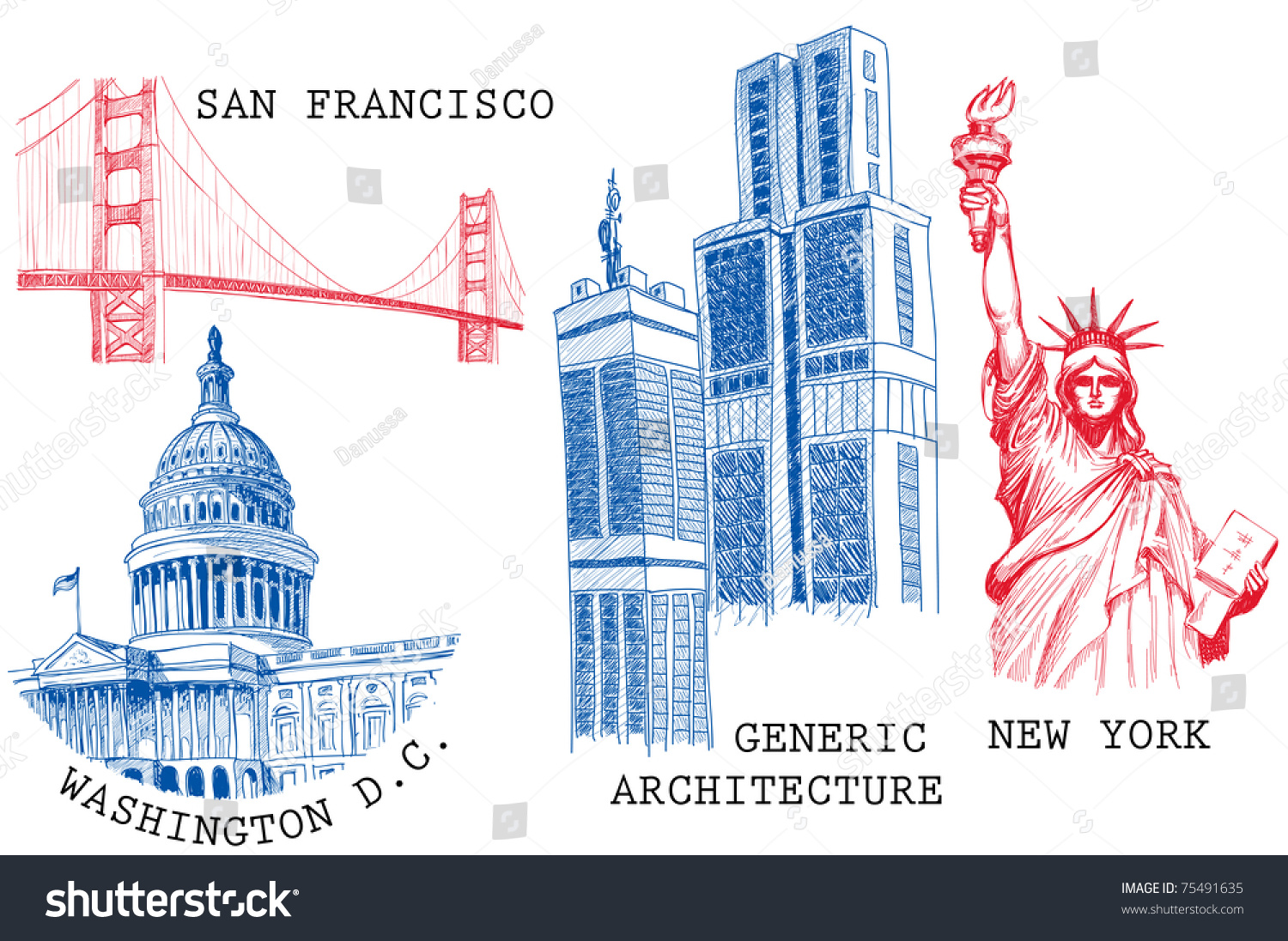Usa famous cities architecture landmarks sketches stock for Famous cities in new york