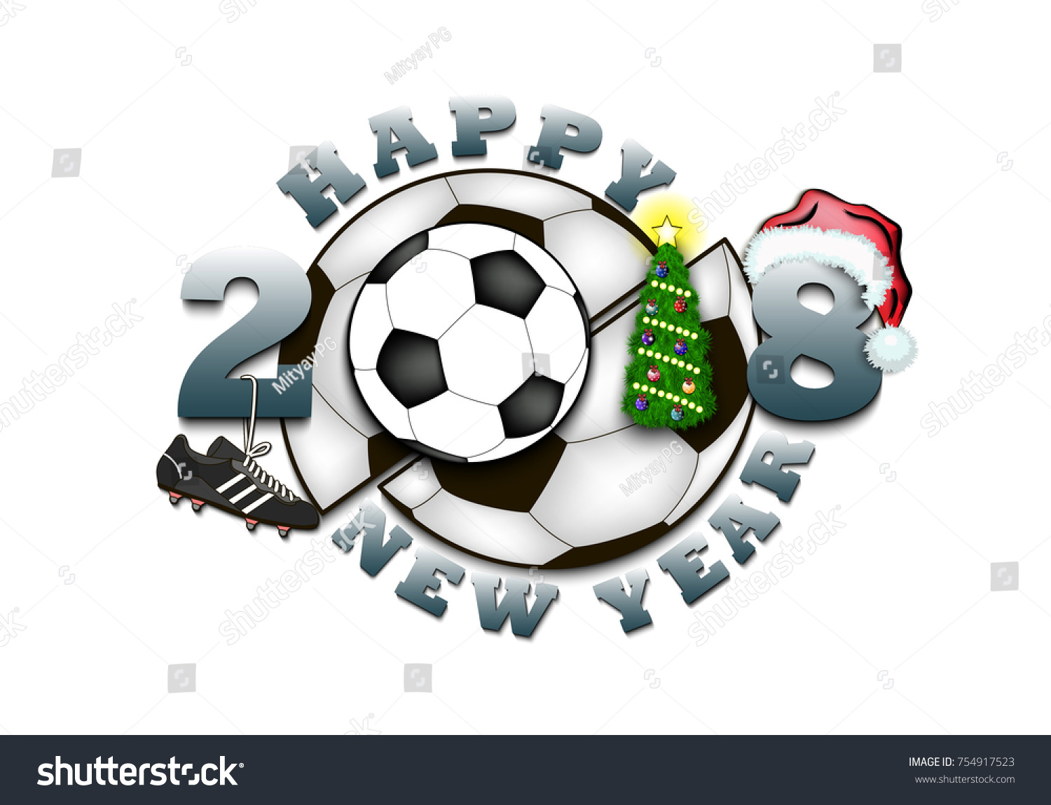 Happy New Year 2018 Soccer Ball Stock Vector Royalty Free