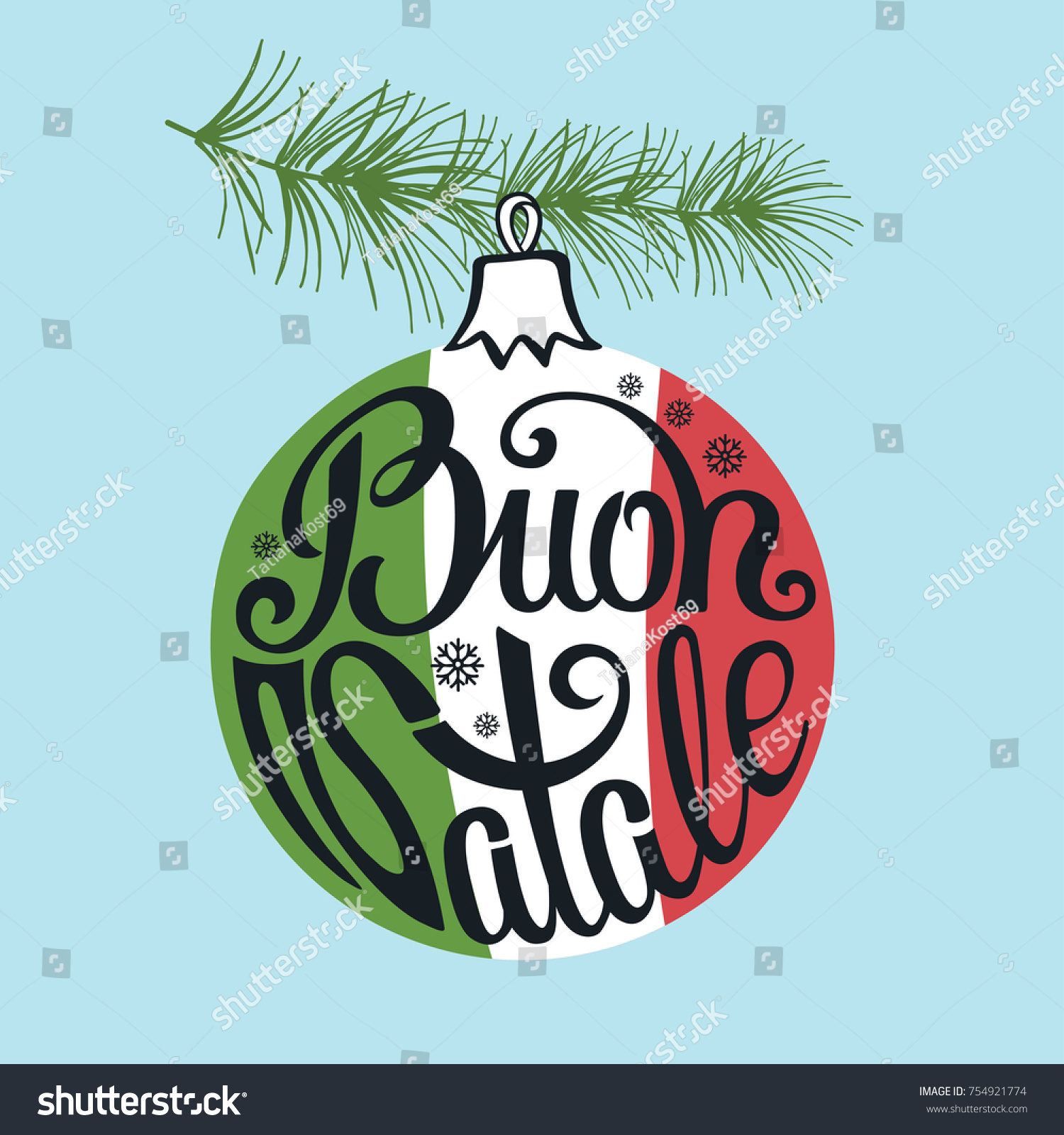 Christmas Ball Buon Natale Greeting Card Stock Vector Royalty Free