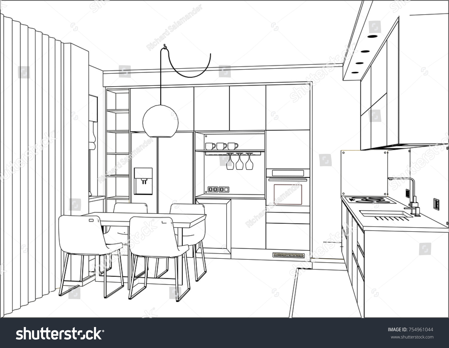 3 D Vector Sketch Modern Kitchen Design Stock Vector Royalty Free