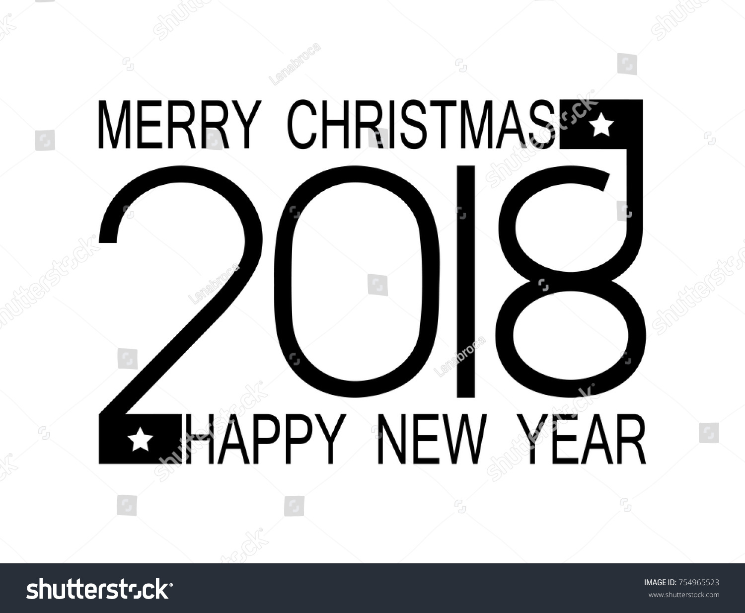 happy new year 2018 and merry christmas numbers 2018 on a white flat background