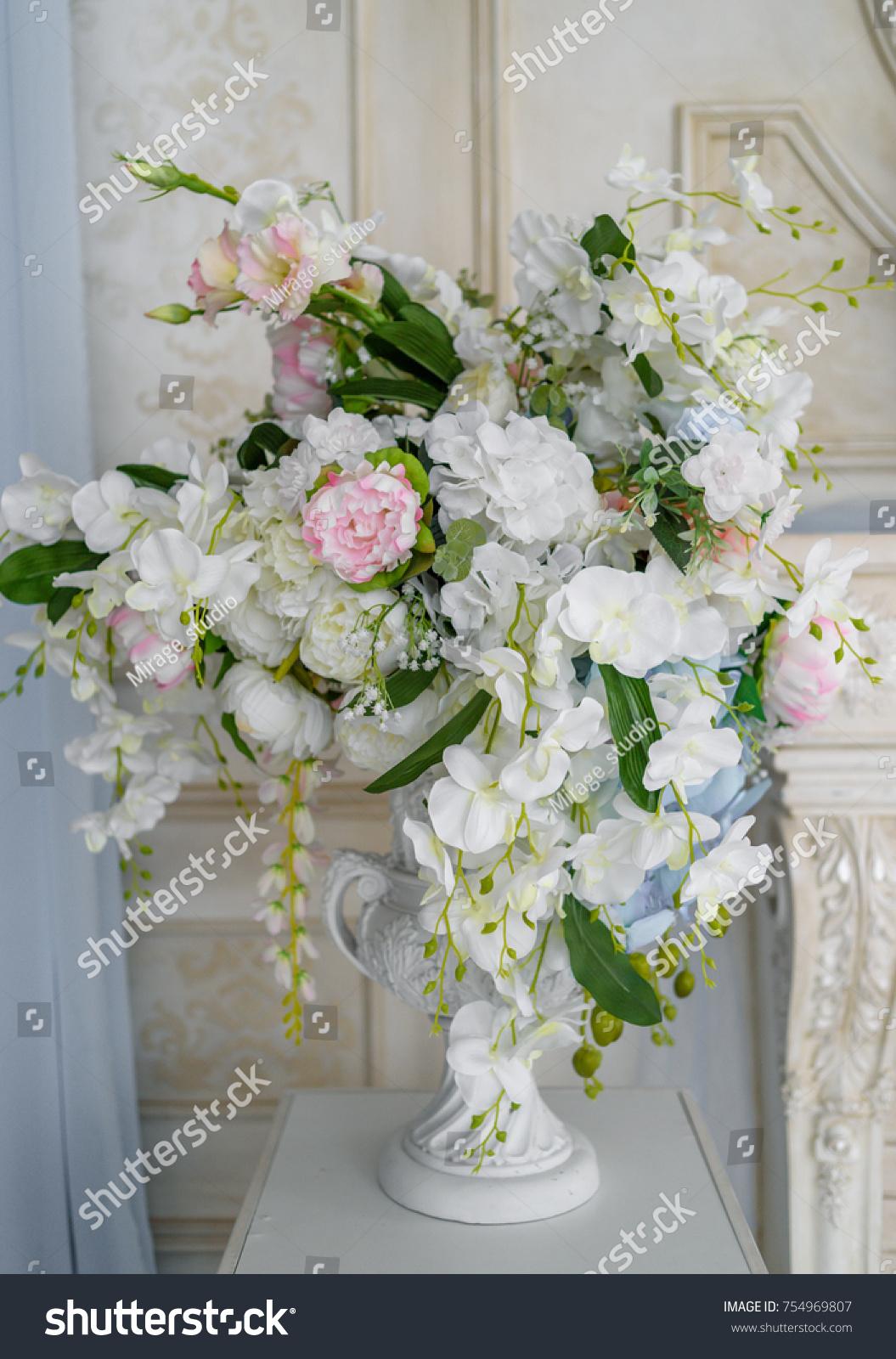 Artificial Bouquet Flowers White Antique Vase Stock Photo Edit Now