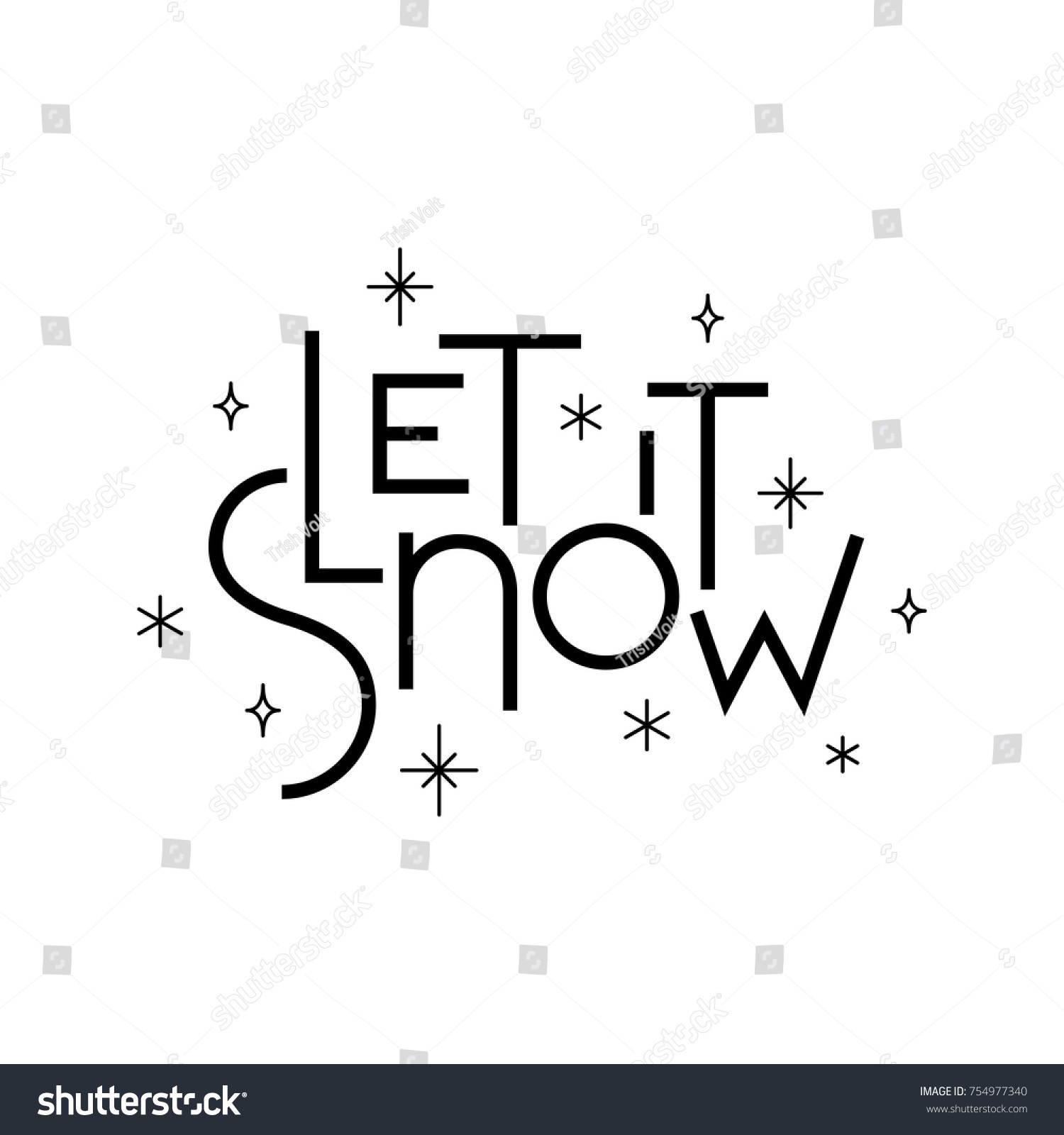 Let It Snow Holiday Lettering Simple Calligraphy Typography Image With Star Lights And