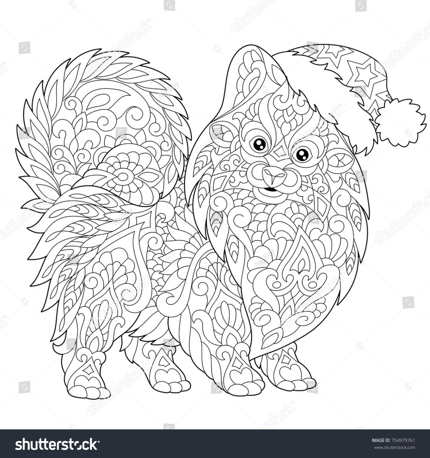 Coloring Page Pomeranian Dog Symbol 2018 Stock Vector 754979761 ...